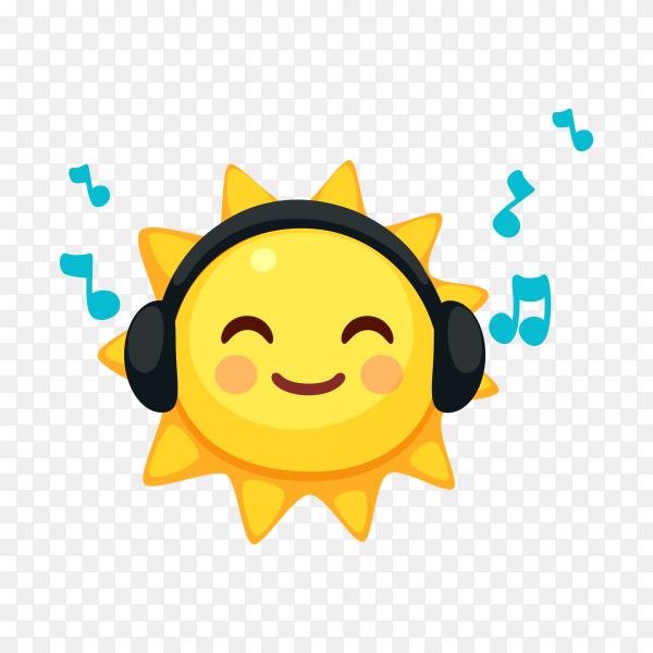Sun emoji face Listening music on transparent background PNG
