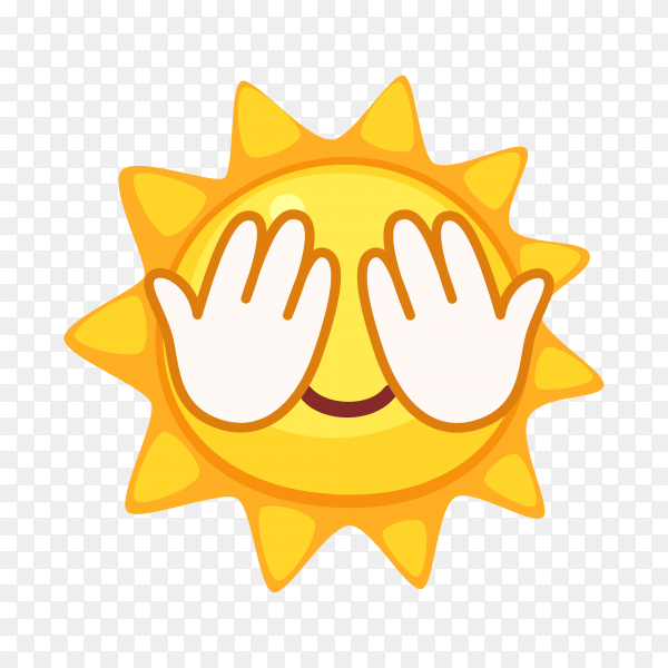 Sun emoji face isolated premium vector PNG