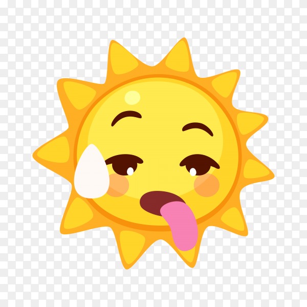 Sun emoji face with Tongue on transparent background PNG