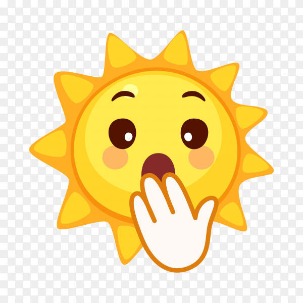 Sun face with hand over mouth on transparent background PNG