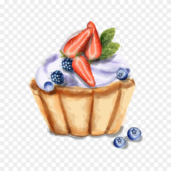 Sweet cupcake with fruits on transparent background PNG