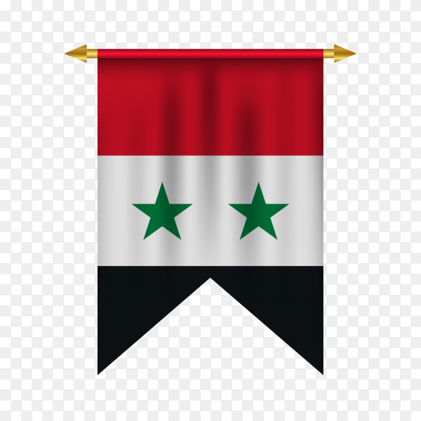 Syria pennant on transparent background PNG