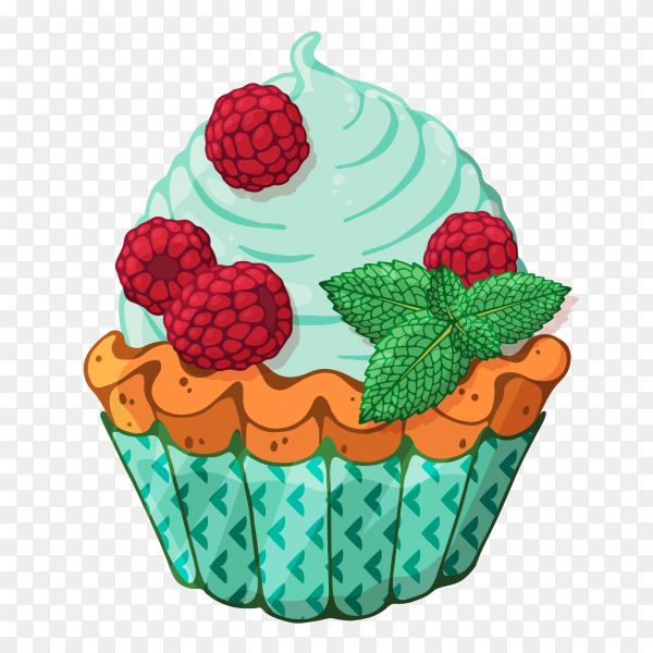 Tasty cupcake with Red berries on transparent background PNG