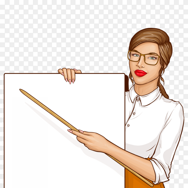Teacher woman wearing glasses and white shirt holding pointer and blank placard on transparent background PNG