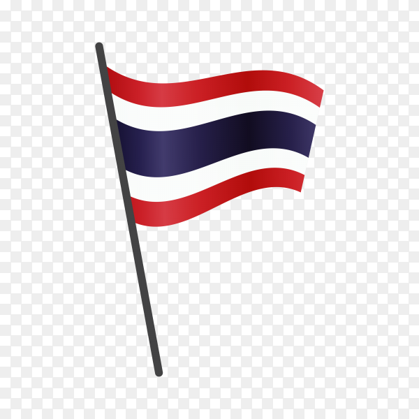 Thailand flag waving on a flagpole on transparent background PNG