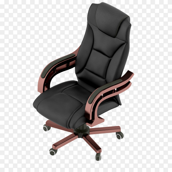 The black office chair on transparent background PNG