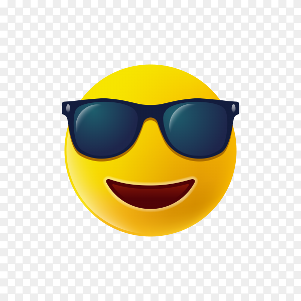 The emoji yellow face with black sunglass and smile icon on transparent background PNG