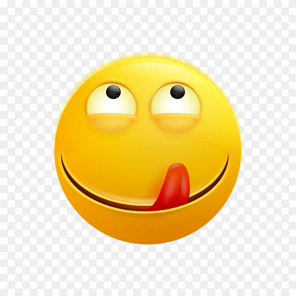 The isolated yellow smiley and tasting food face with tongue out icon on transparent background PNG