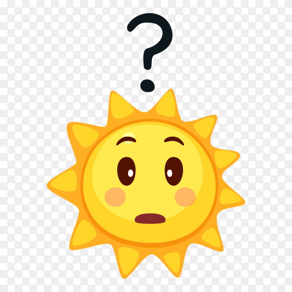Thinking Sun face on transparent background PNG