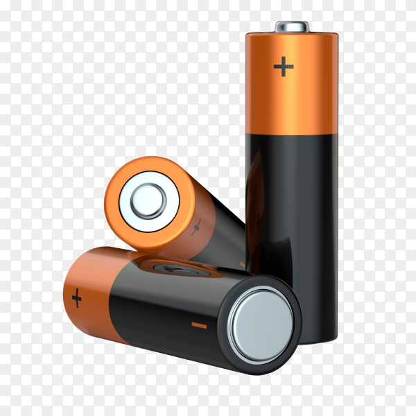 Three aa alkaline batteries on transparent background PNG