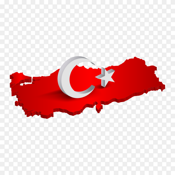 Turkish flag on the map on transparent background PNG