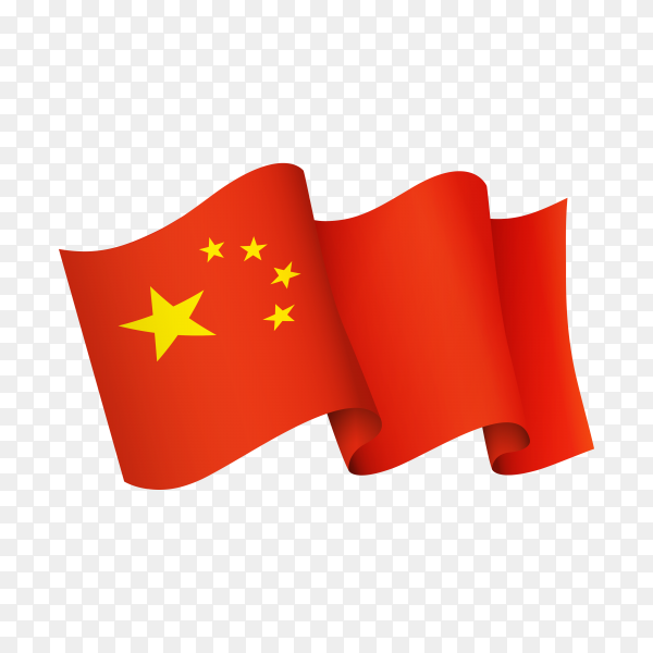 Waving China flag icon isolated on transparent background PNG
