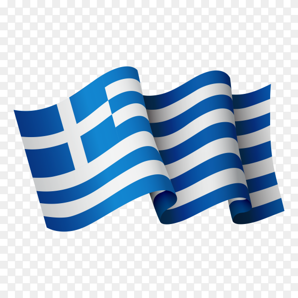Waving Greece flag icon isolated on transparent background PNG