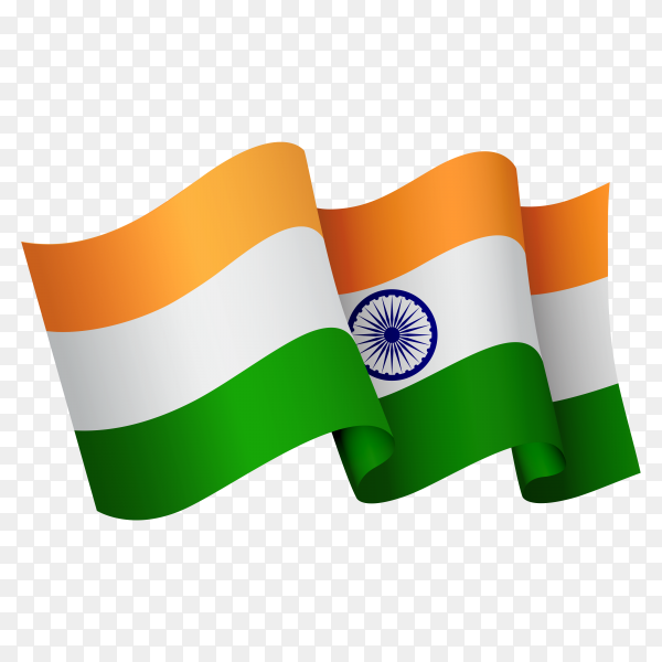 Waving India flag icon isolated on transparent background PNG