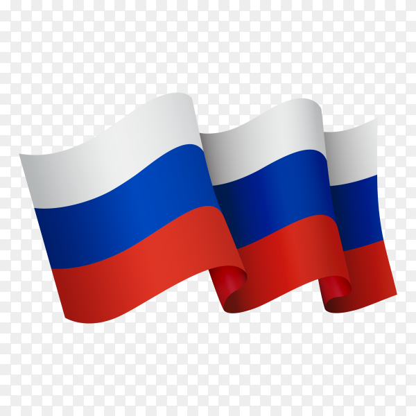 Waving Russia flag icon on transparent background PNG