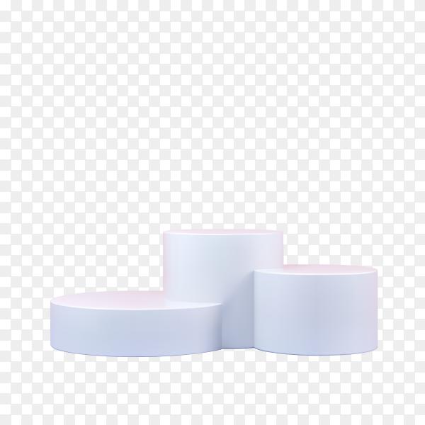 White Round podium on transparent background PNG