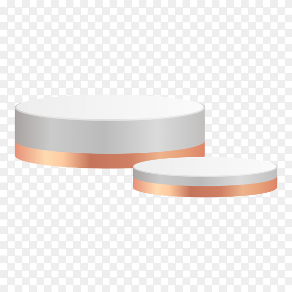 White and gold cylinder podiums metal material on transparent background PNG