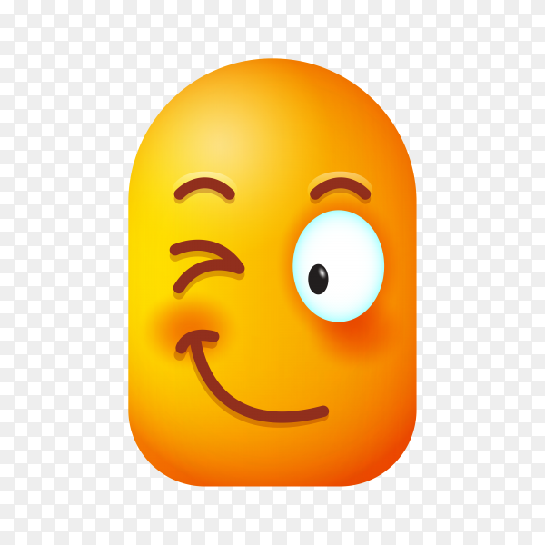 Winking Face Emoji isolated Clipart PNG