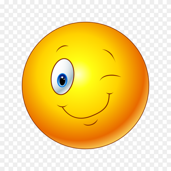 Winking Face Emoji on transparent background PNG