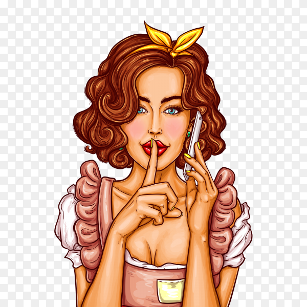 Woman and telephone in pop art on transparent background PNG