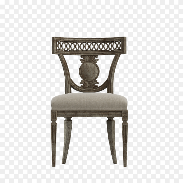 Wooden chair chair upholstered in a beautiful cloth isolated on transparent background PNG