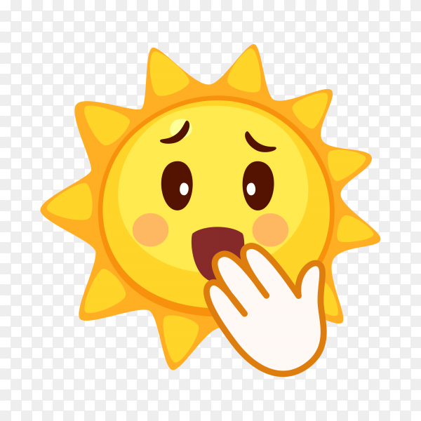 Yawning Sun face isolated on transparent background PNG