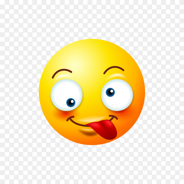 Zany Emoji Face isolated on transparent background PNG
