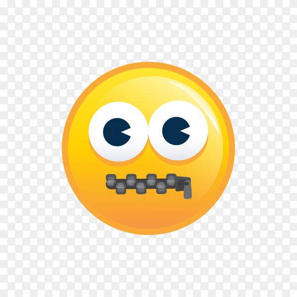 Zipper-Mouth Face on transparent background PNG