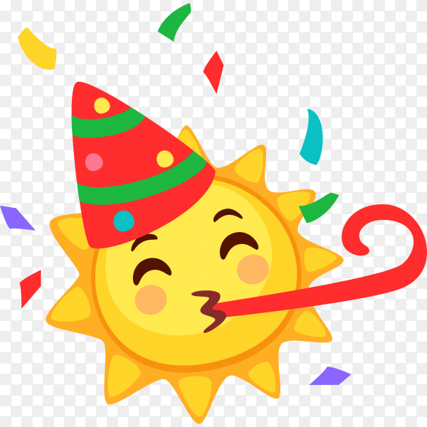 partying Sun face isolated on transparent background PNG