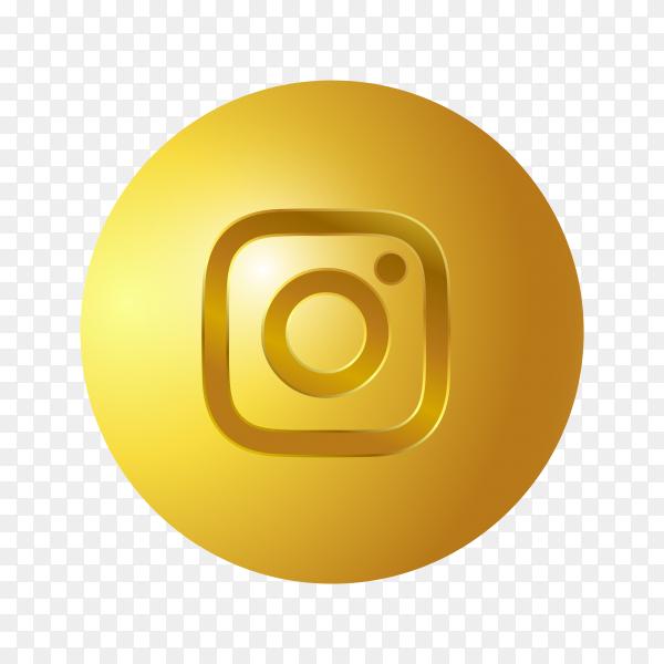3D Golden Instagram icon on transparent background PNG