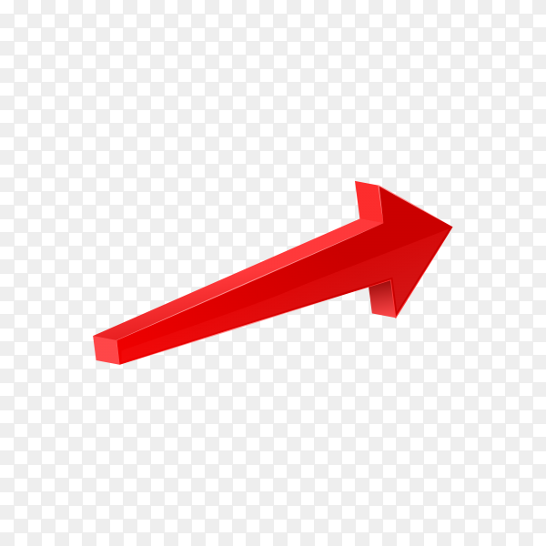 3D glossy red arrow icon on transparent background PNG
