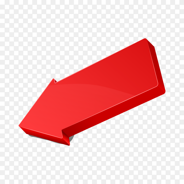 3D red arrow icon on transparent background PNG