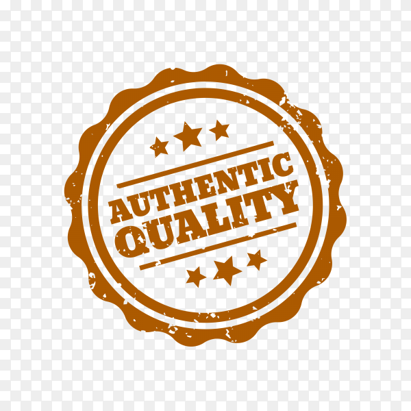 Authentic quality rubber stamp on transparent background PNG