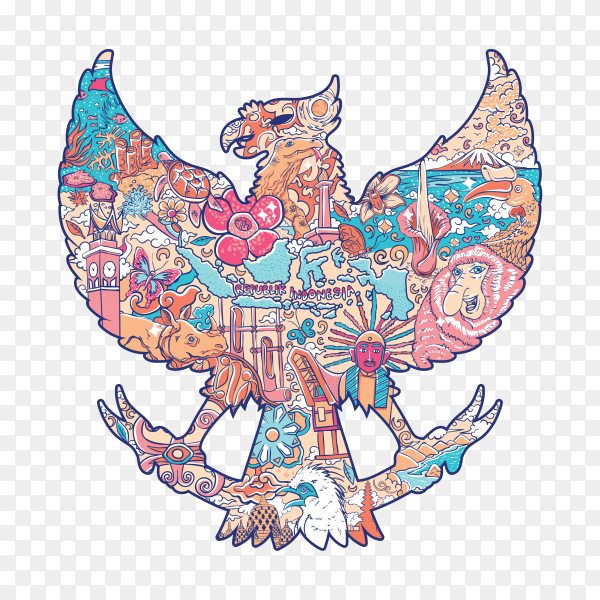 Beautiful Indonesia in garuda silhouette on transparent background PNG