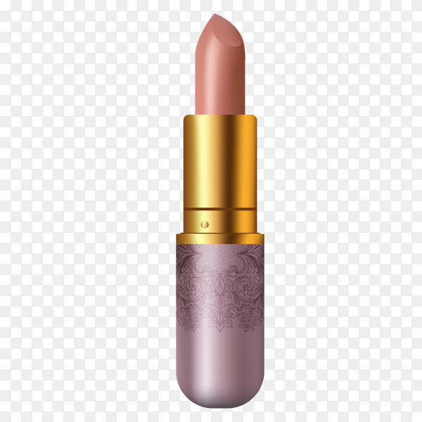 Beautiful lipstick in purple tube on transparent background PNG