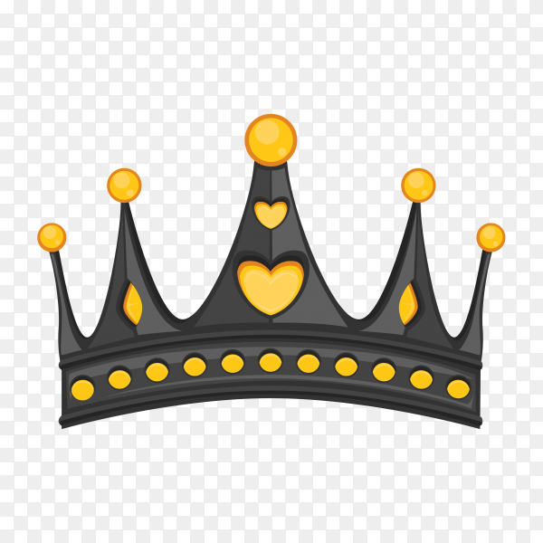 Black crown isolated premium vector PNG