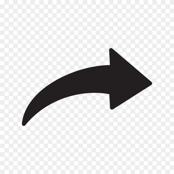 Black doodle arrow on transparent PNG