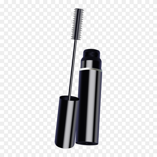 Black mascara, eye makeup brush on transparent background PNG
