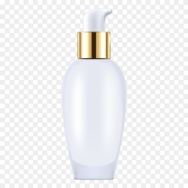Blank cosmetic bottle with press pump mockup isolated on transparent background PNG