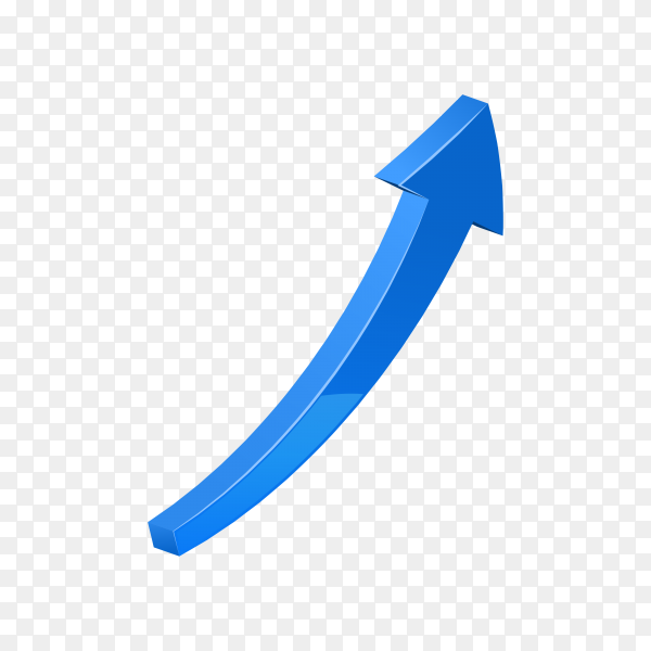 Blue 3d glossy arrow on transparent background PNG