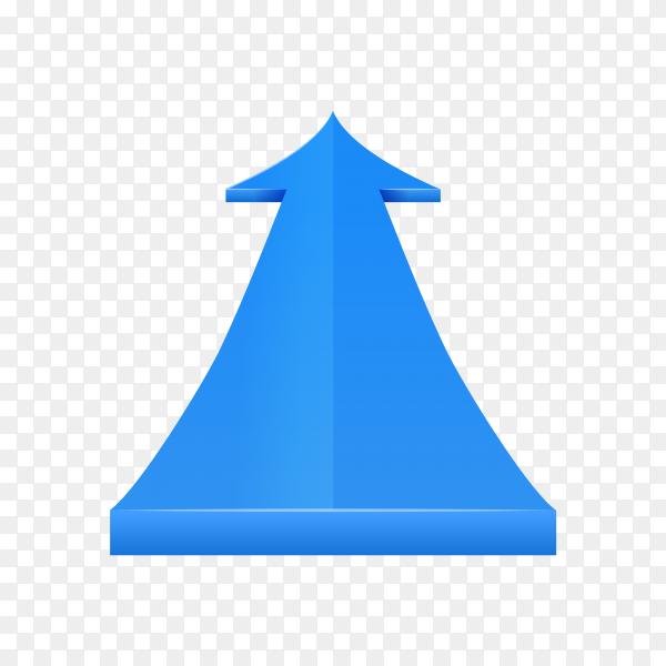 Blue arrow direction on transparent background PNG