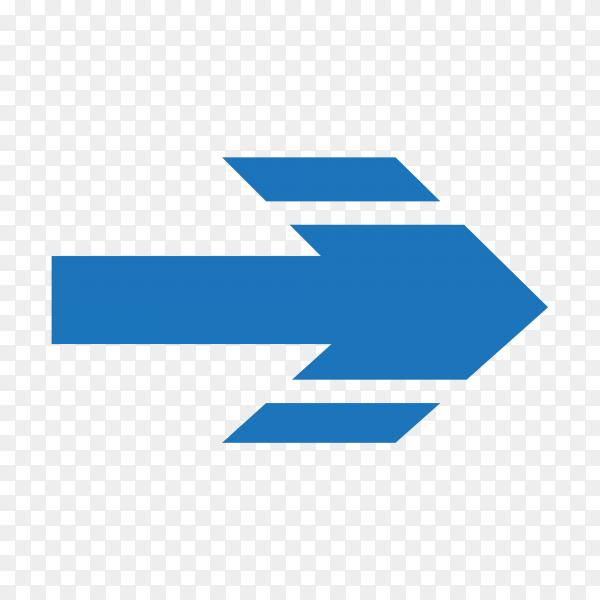 Blue arrow icon design on transparent background PNG
