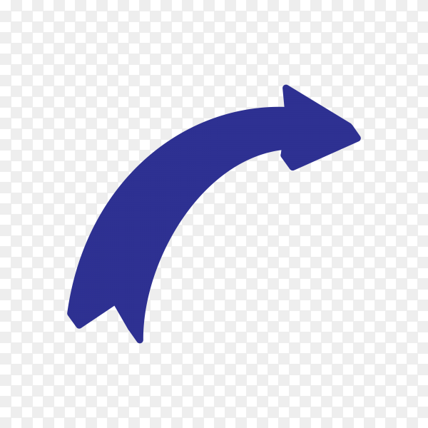 Blue arrow mark icon on transparent background PNG