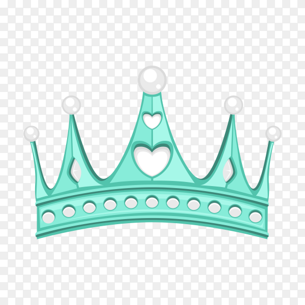 Blue crown in flat design on transparent background PNG