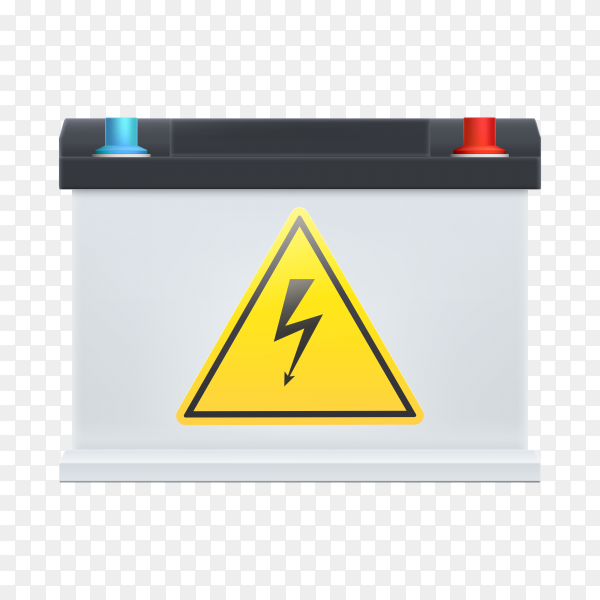 Car battery with electrical hazard sticker on transparent background PNG