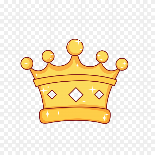 Cartoon king crown on transparent background PNG