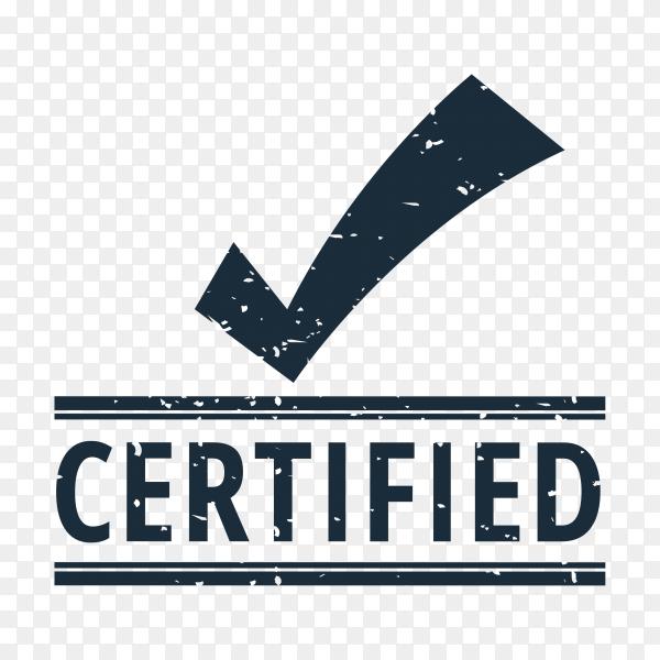 Certified seal design on transparent background PNG