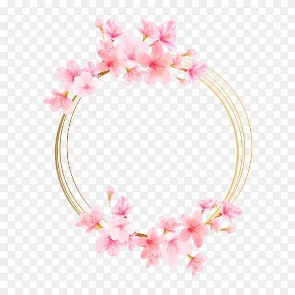 Cherry blossom frame card on transparent background PNG