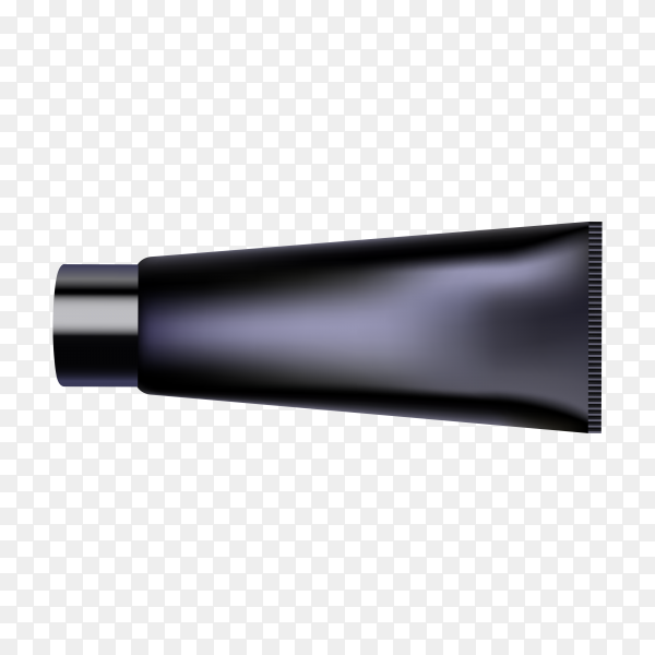 Close up of a blank black cream tube on transparent background PNG