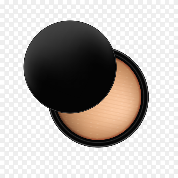 Compact powder in black container isolated on transparent background PNG